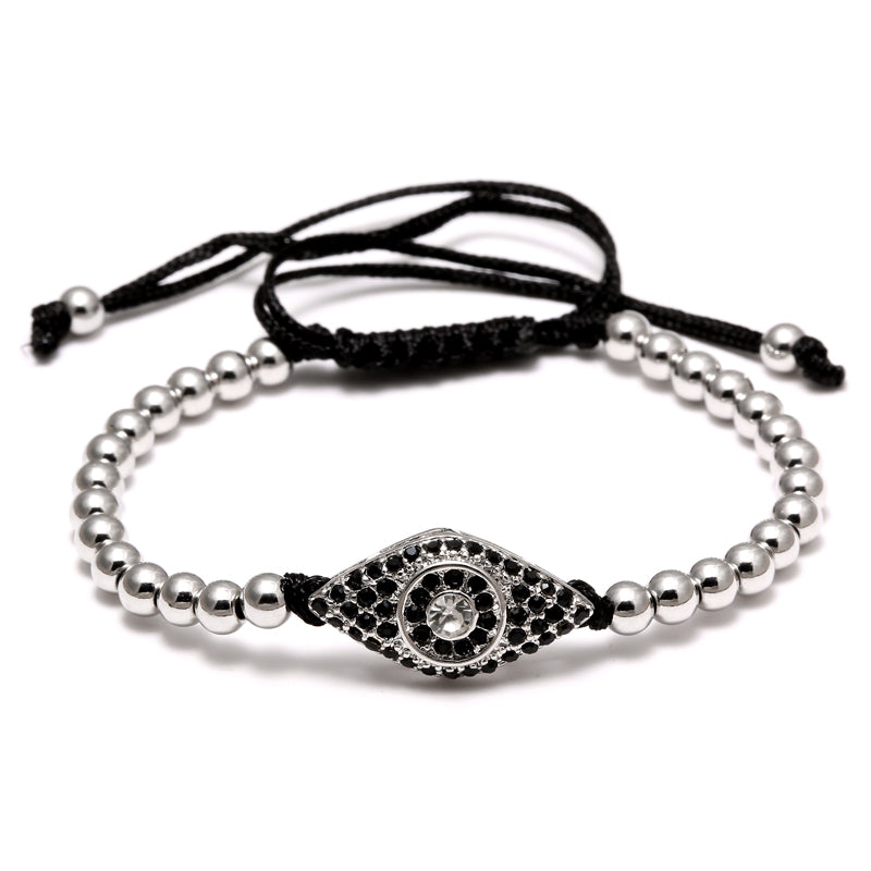 Fashion Evil Eye Charm Bracelet Stainless Steel Beads Leather Bracelet For Men Women Daily Casual Jewelry Accessory