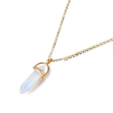 "Reiki Opal Crystal Pendant + 18"" Necklace"