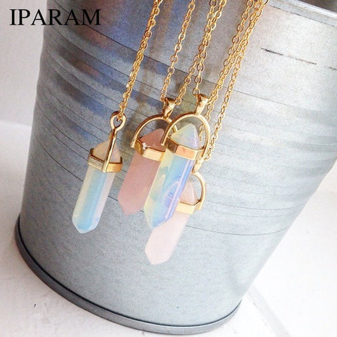 Opal Crystal Pendant + Necklace