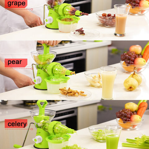 Image of LUCOG Multifuctional Kitchen Manual Hand Crank Single Auger Juicer with Suction Base Hand Juicer for Wheatgrass Fruit Vegetable