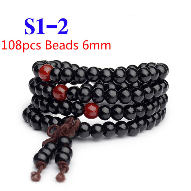 Pulseras 108 Beads 6mm Natural Sandalwood Buddhist Buddha Wood Prayer Bead Mala Unisex Men Bracelets & Bangles Jewelry Bijoux