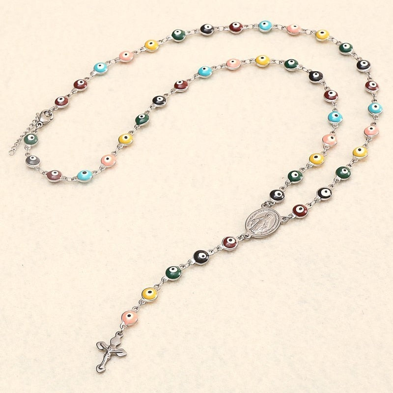 RIR Jesus Christ Cross Evil Eye Bead Catholic Religious Rosary Long Crucifixes Necklace Stainless Steel Men Women