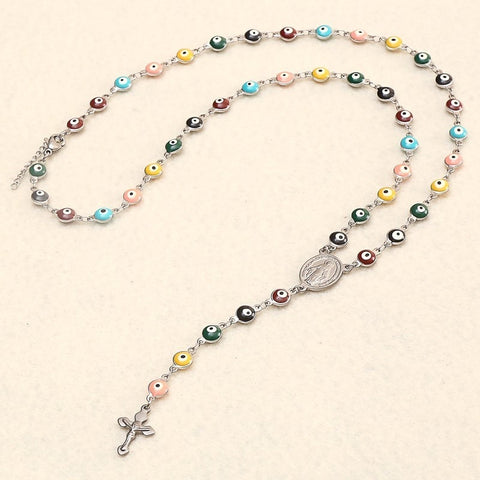 Image of RIR Jesus Christ Cross Evil Eye Bead Catholic Religious Rosary Long Crucifixes Necklace Stainless Steel Men Women
