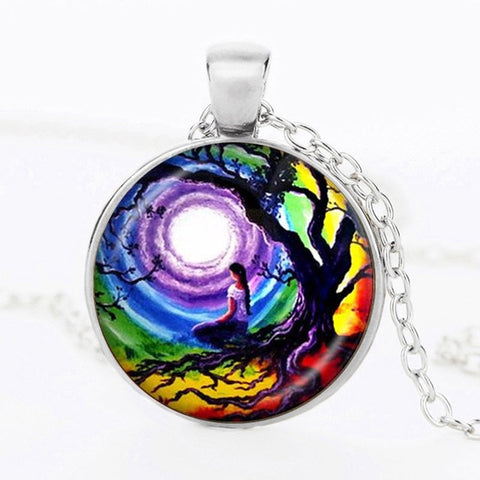 Image of SUTEYI Newest Tree Of Life Statement Necklace Art Photo Glass Cabochon Pendant Charm Women Choker DIY Necklace For Gifts Jewelry
