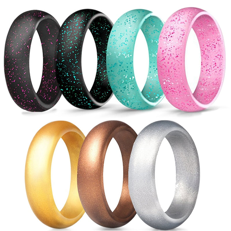Sale 4 5 6 7 8 9 10 Size 5.7mm Crystal powder Silicone Female Ring For Women Girls Office Men Finger Jewelry