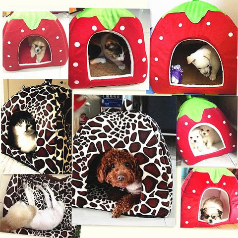 Image of Soft Strawberry Pet Dog Cat House Comfortable Kennel Doggy Foldable Fashion Cushion Basket Cute Animal Cave Pet Products