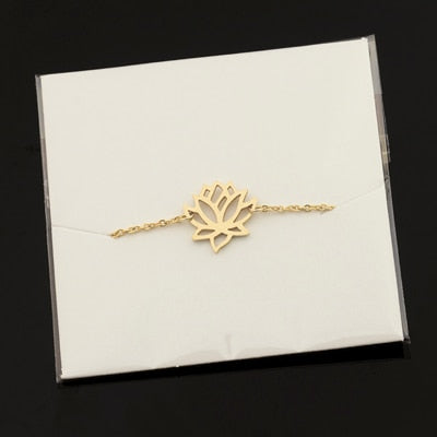 Image of Stainless Steel Gold Charm Healing Lucky Lotus Flower Bracelets For Women Boho Jewellery Delicate Chain Yoga Bracelet Mom Gifts