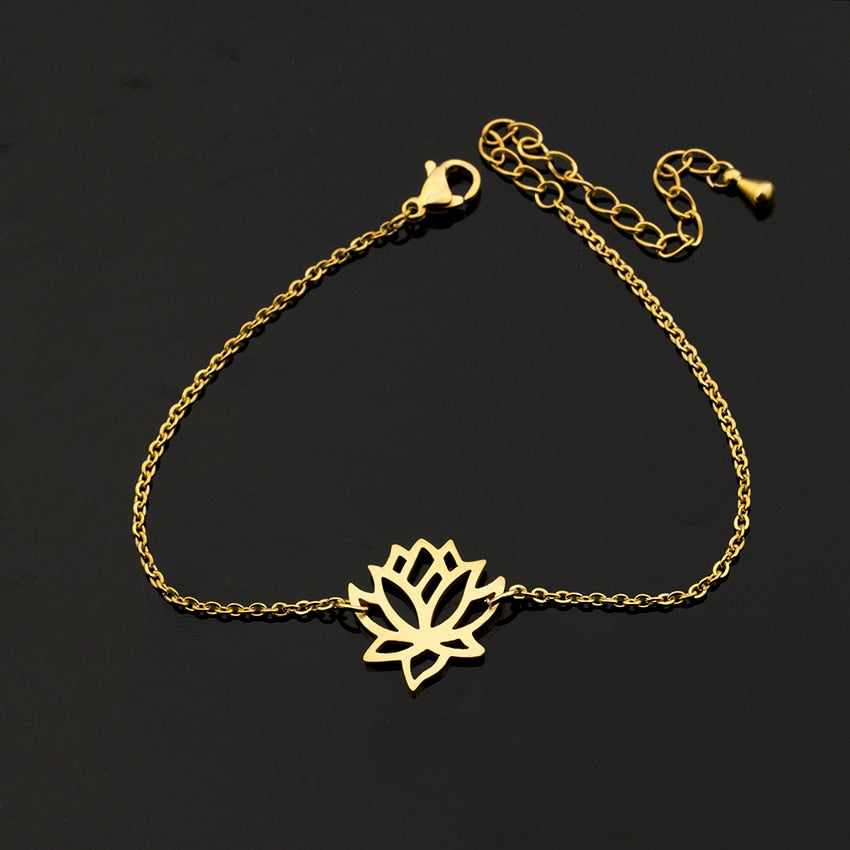 Stainless Steel Gold Charm Healing Lucky Lotus Flower Bracelets For Women Boho Jewellery Delicate Chain Yoga Bracelet Mom Gifts