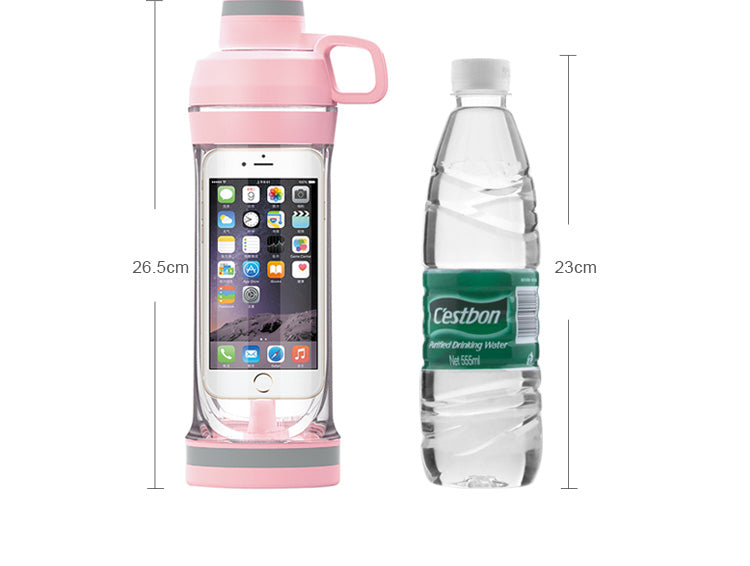 Storager My Water bottle for Iphone Mobile phone 400ML Organizer Drinking Bottles For Water Plastic Leak-Proof for swimming