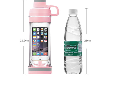 Image of Storager My Water bottle for Iphone Mobile phone 400ML Organizer Drinking Bottles For Water Plastic Leak-Proof for swimming