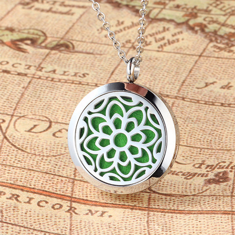 Image of UBELIEVE Flower Aromatherapy Essential Oil Diffuser Necklace Stainless Steel Magnetic Perfume Locket Jewelry With Chain