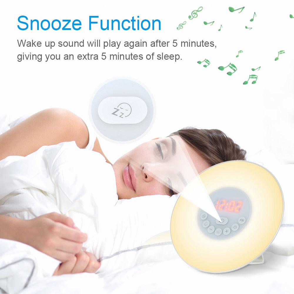 Wake Up Light Alarm Clock Sunrise/Sunset Simulation Digital Clock with FM Radio 7 Colors Light Sounds Function Touch Control