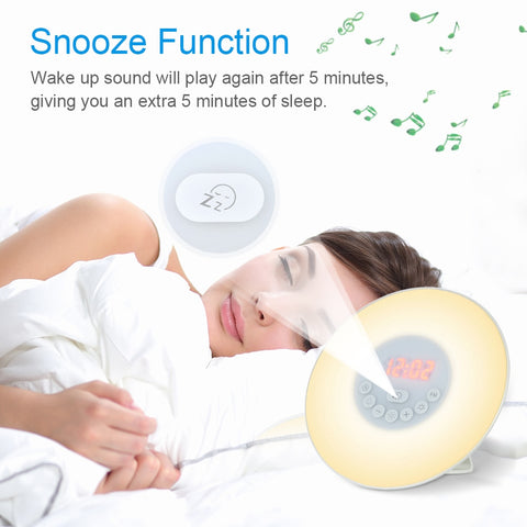 Image of Wake Up Light Alarm Clock Sunrise/Sunset Simulation Digital Clock with FM Radio 7 Colors Light Sounds Function Touch Control