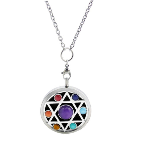 Image of With Free Chains! New Arrivals Hamsa 38mm Chakra Lockets Aromatherapy / Stainless Steel Essential Oils Diffuser Pendant Necklace