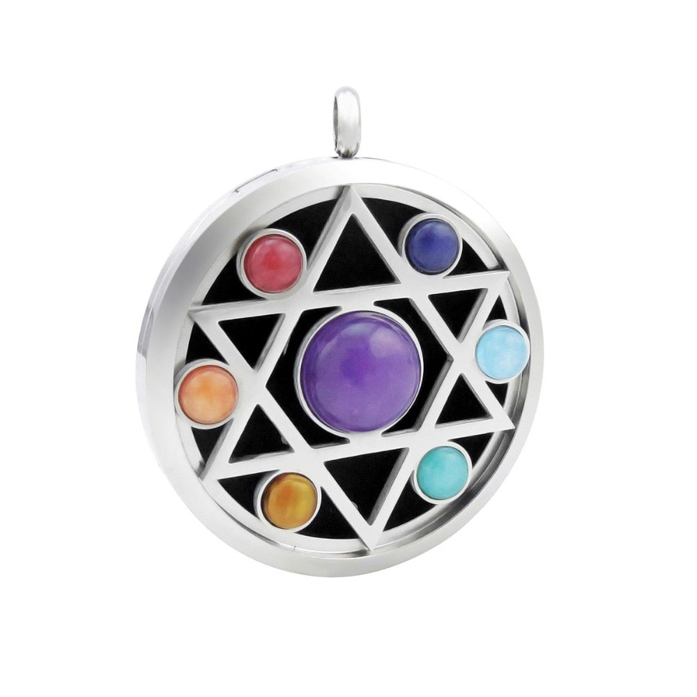 With Free Chains! New Arrivals Hamsa 38mm Chakra Lockets Aromatherapy / Stainless Steel Essential Oils Diffuser Pendant Necklace