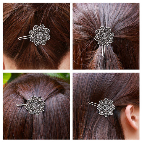 Image of Yoga OM Mandala Amulet Lotus Meditation Hair Pins Barrette Hair Clip Tibetan Religious Gift