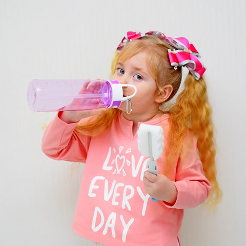 Image of bottled joy 0.7L  water bottle with straw drink Tritan bpa free cute water filter bottles kids Handle my gym Plastic bottle
