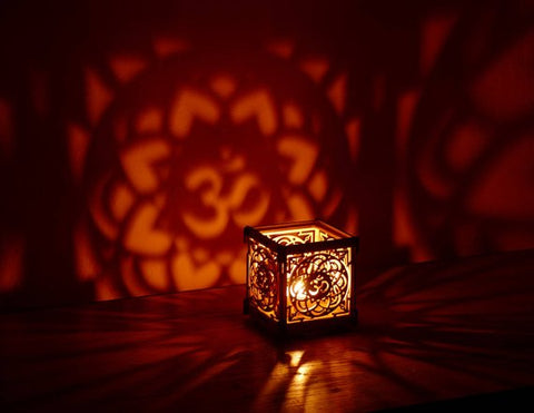 Image of OM Lotus flower wooden tea light Shadow lantern Candle Holder / Hindu Buddhist Mandala New Age Sacred geometry lantern