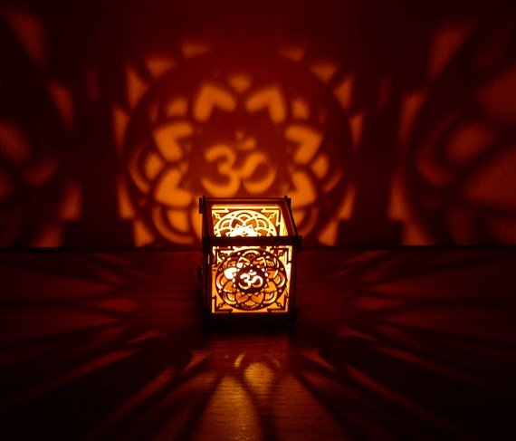 OM Lotus flower wooden tea light Shadow lantern Candle Holder / Hindu Buddhist Mandala New Age Sacred geometry lantern