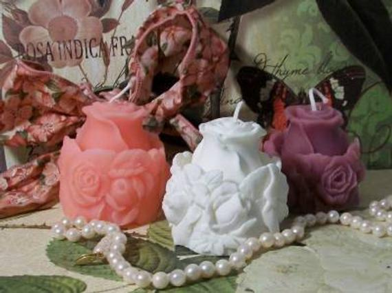 2 Beeswax Rose Bud Ring Around The Rose Flower Candle Choice Of Color