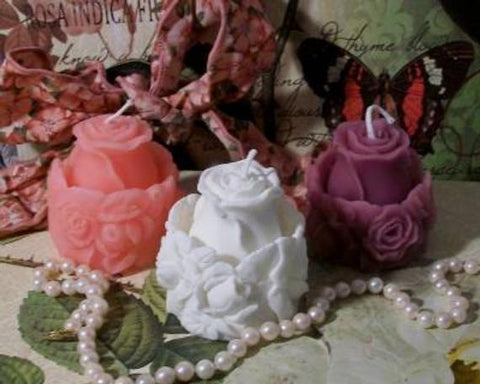 Image of 2 Beeswax Rose Bud Ring Around The Rose Flower Candle Choice Of Color