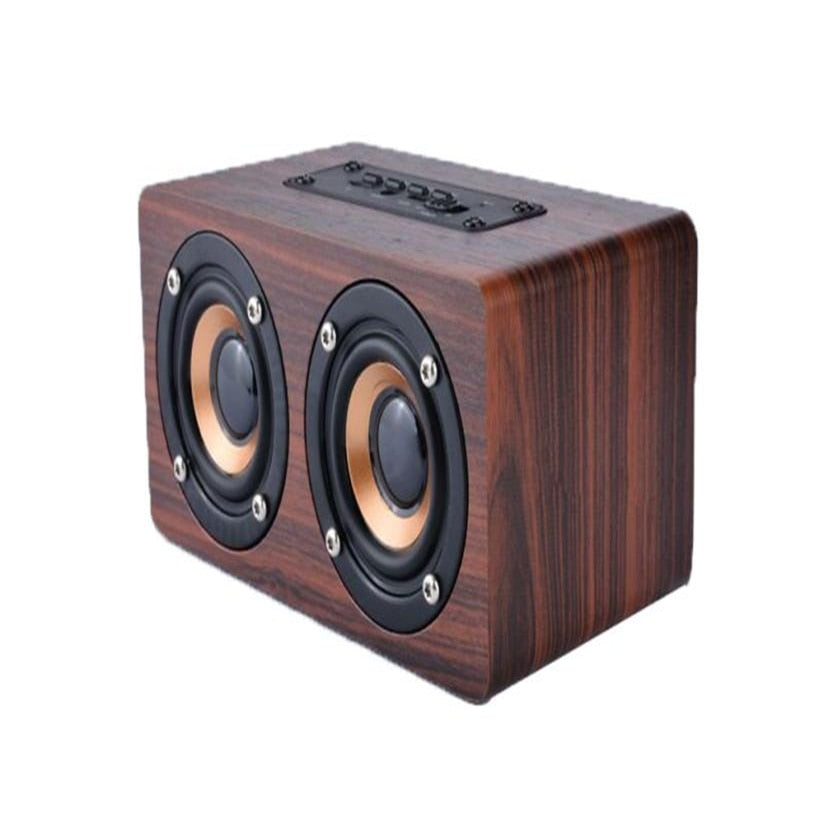 overmal Top Wooden Portable Bluetooth Speaker Wireless Retro Bluetooth Speaker 3D Dual Loudspeaker Surround Mini USB Charging