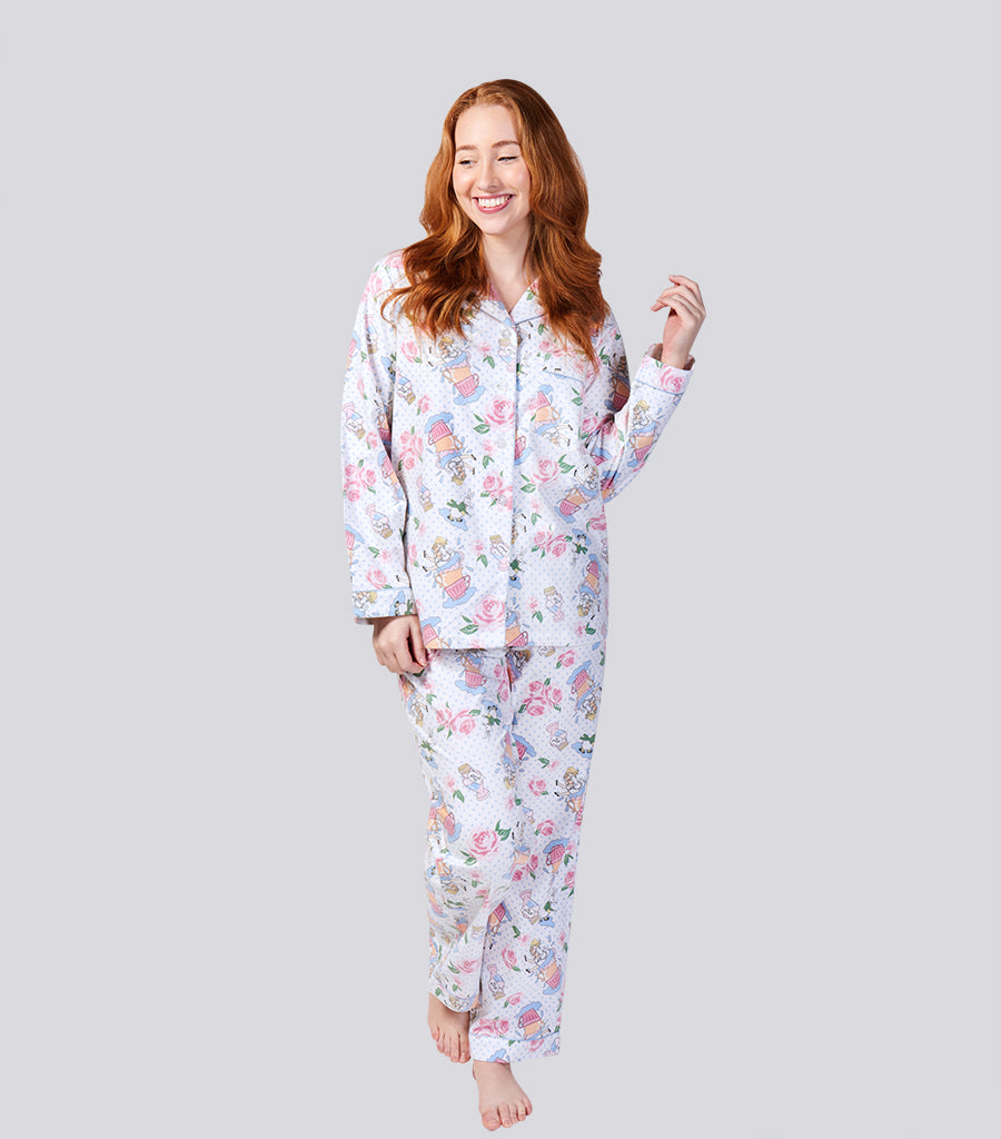 Alice In Wonderland Floral Cotton Flannelette Pyjama Set