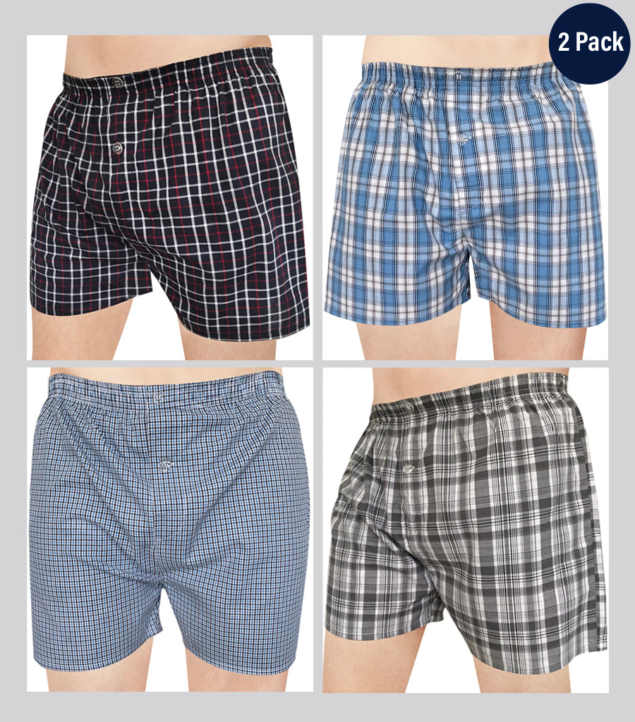 Men's 2-Pack Woven Cotton Boxer Shorts