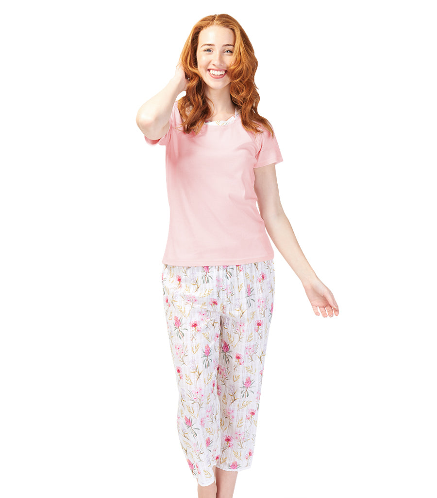 Ladies Cotton Australiana Tee with 3/4 Pant Set