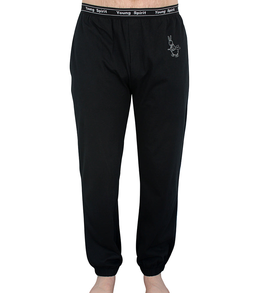 Mens Black Cotton Jersey Jogger