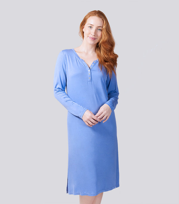 Cornflower Sky Bamboo Elastane Long Sleeve Henley Nightie
