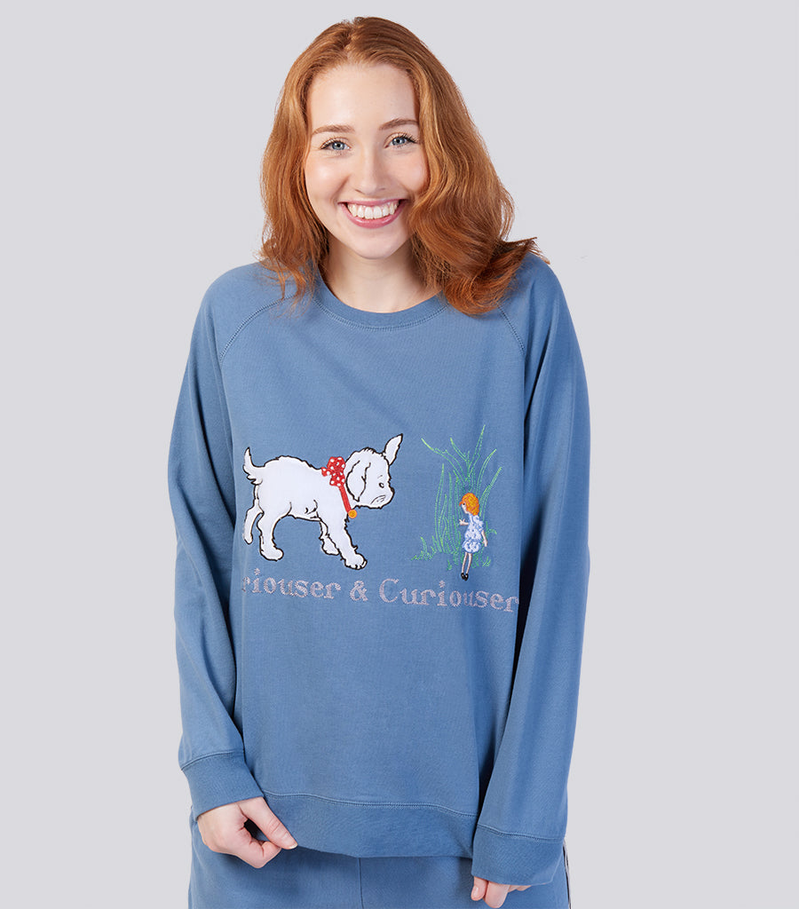 Alice In Wonderland Curiouser and Curiouser Soft Cotton Sweater - Denim Blue | Magnolia Lounge Australia