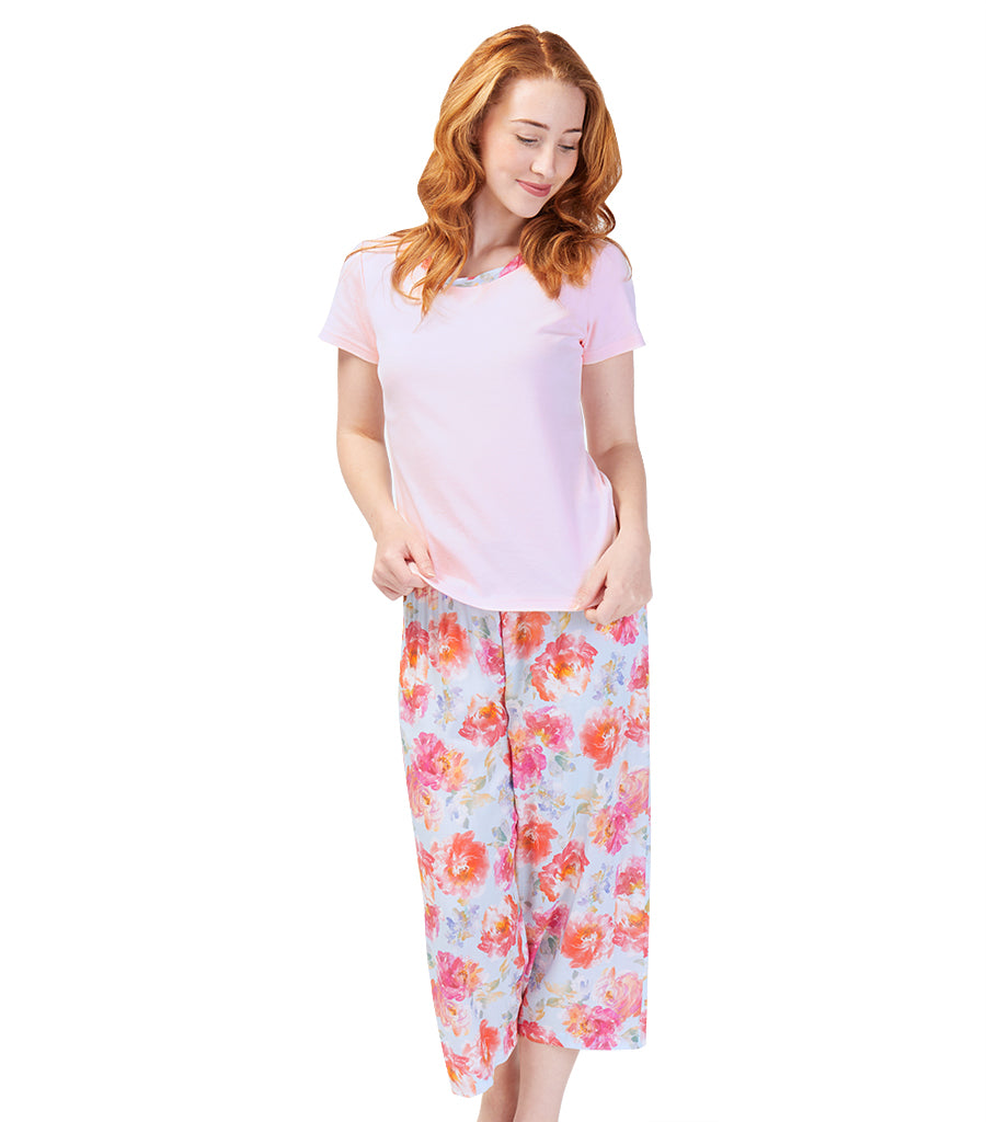 Ladies English Rose Tee with 3/4 Pant Set
