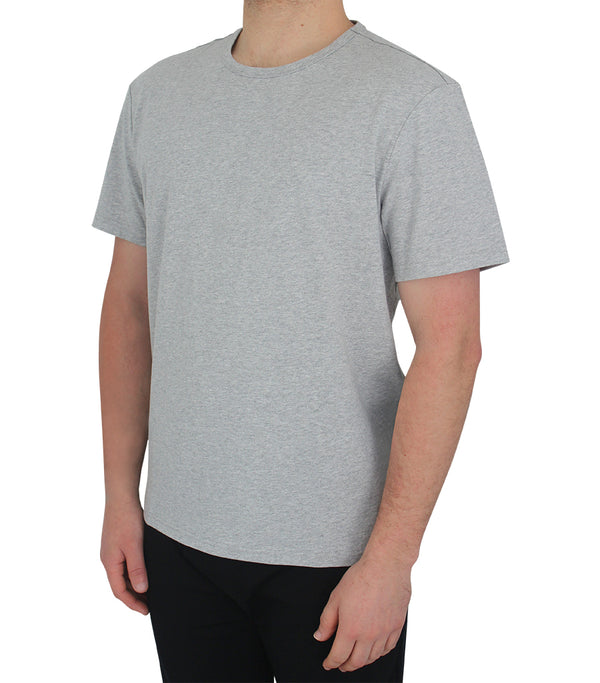 Mens Grey Short Sleeve Cotton Jersey T-Shirt