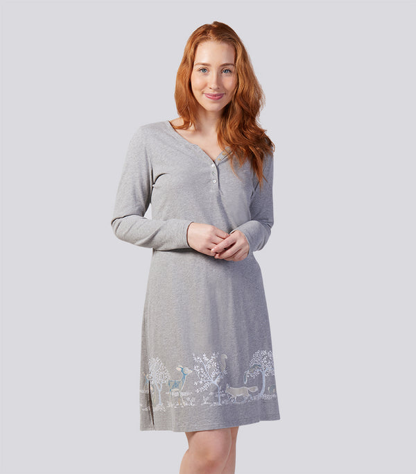 Into the Woods Soft Cotton Long Sleeve Henley Nightie