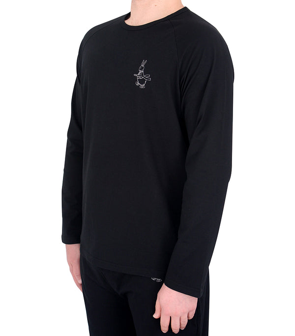 Mens Black Long Sleeve Cotton Jersey T-Shirt