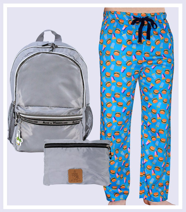 HAPPY SOCKS PYJAMA PANT & GREY FOLDABLE BAG GIFT SET