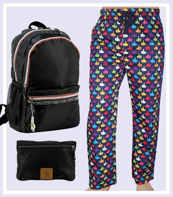 HAPPY SOCKS PYJAMA PANT & FOLDABLE BAG GIFT SET
