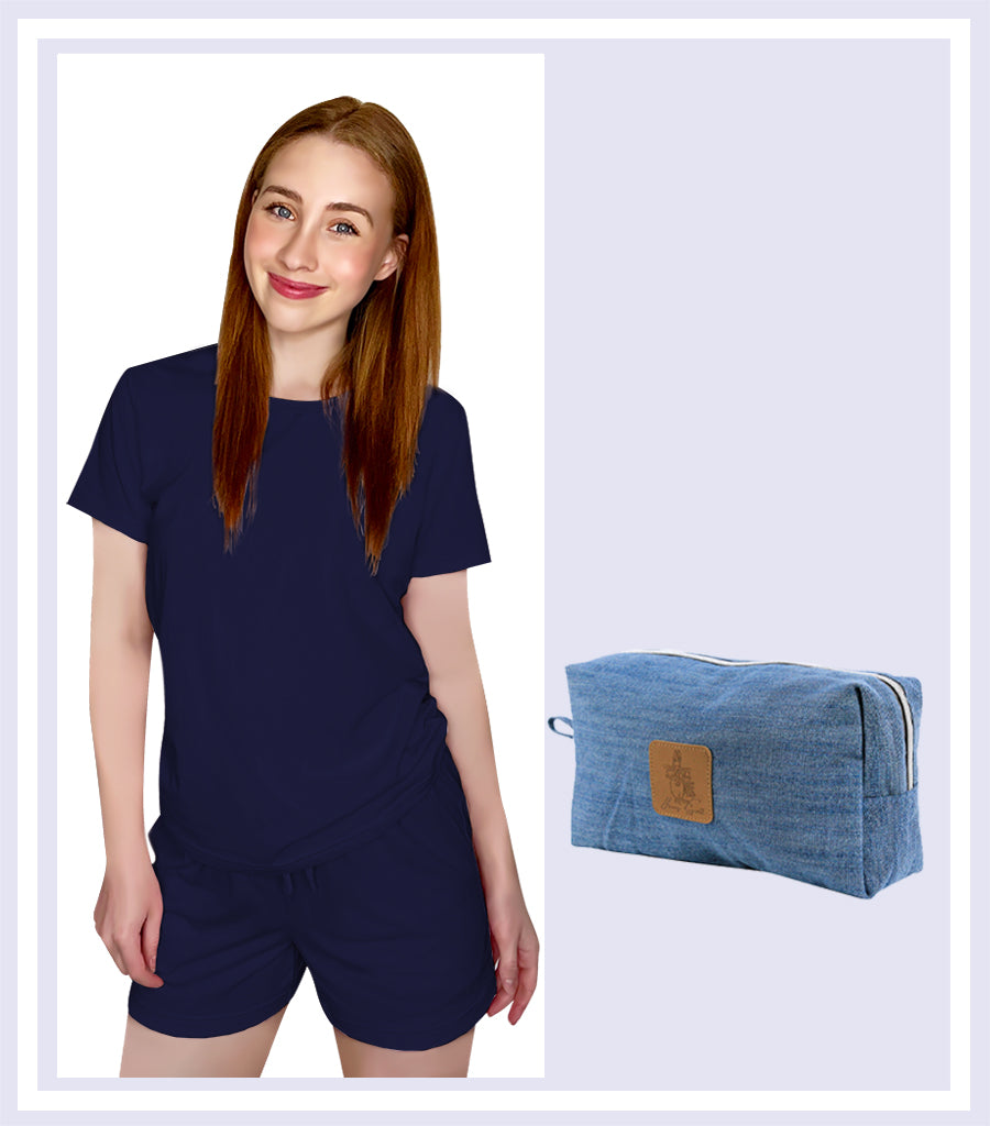 Summer Gift Set - Peacoat Short Sleeve Tee Short Set & Denim Large Cosmetic Bag