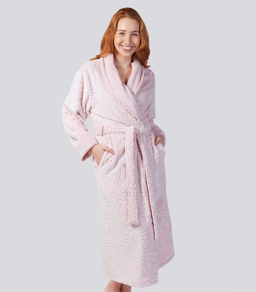Rose Shawl Collar Extra Long Fleece Gown