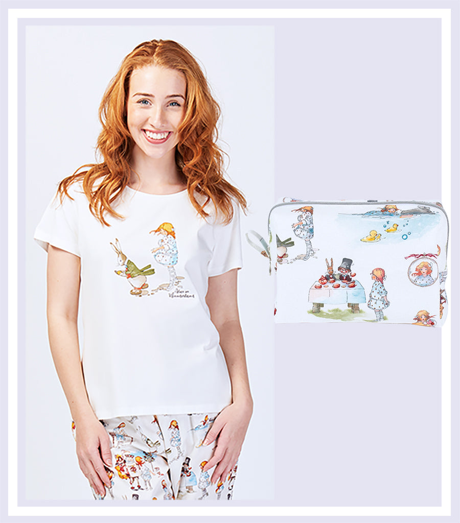 Alice Down the Rabbit Hole T-shirt & Makeup Bag Gift Set - Magnolia Lounge