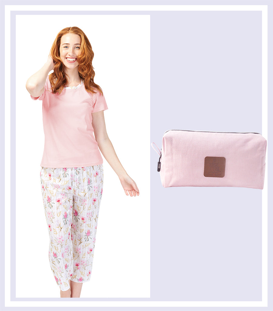 Summer Gift Set - Australiana Cotton Tank with 3/4 Pant Set & Pink Large Cosmetic Bag