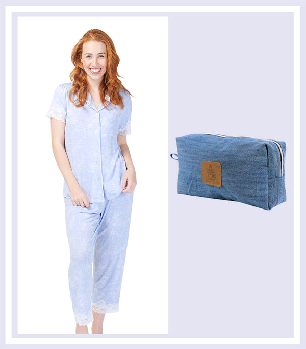 Summer Gift Set - Botanic Studies Pyjama Set & Denim Large Cosmetic Bag