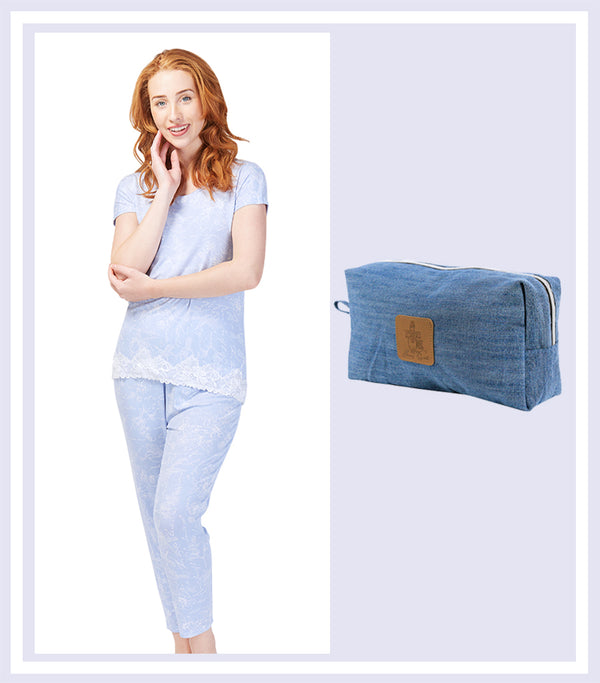 Summer Gift Set - Botanical Studies Tee & Tapered Pant Set & Denim Large Cosmetic Bag
