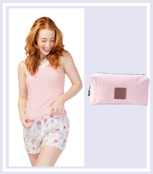Summer Gift Set - Australiana Cotton Tank with Short Set & Pink Large Cosmetic Bag