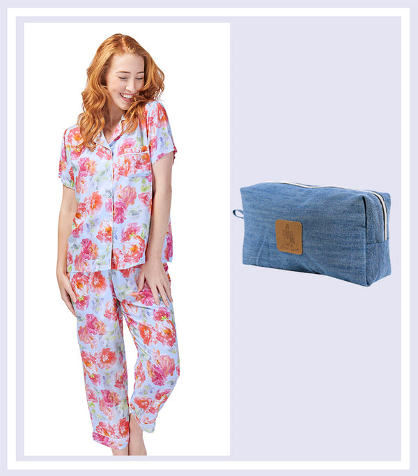 Summer Gift Set - English Rose Pyjama Set & Denim Large Cosmetic Bag