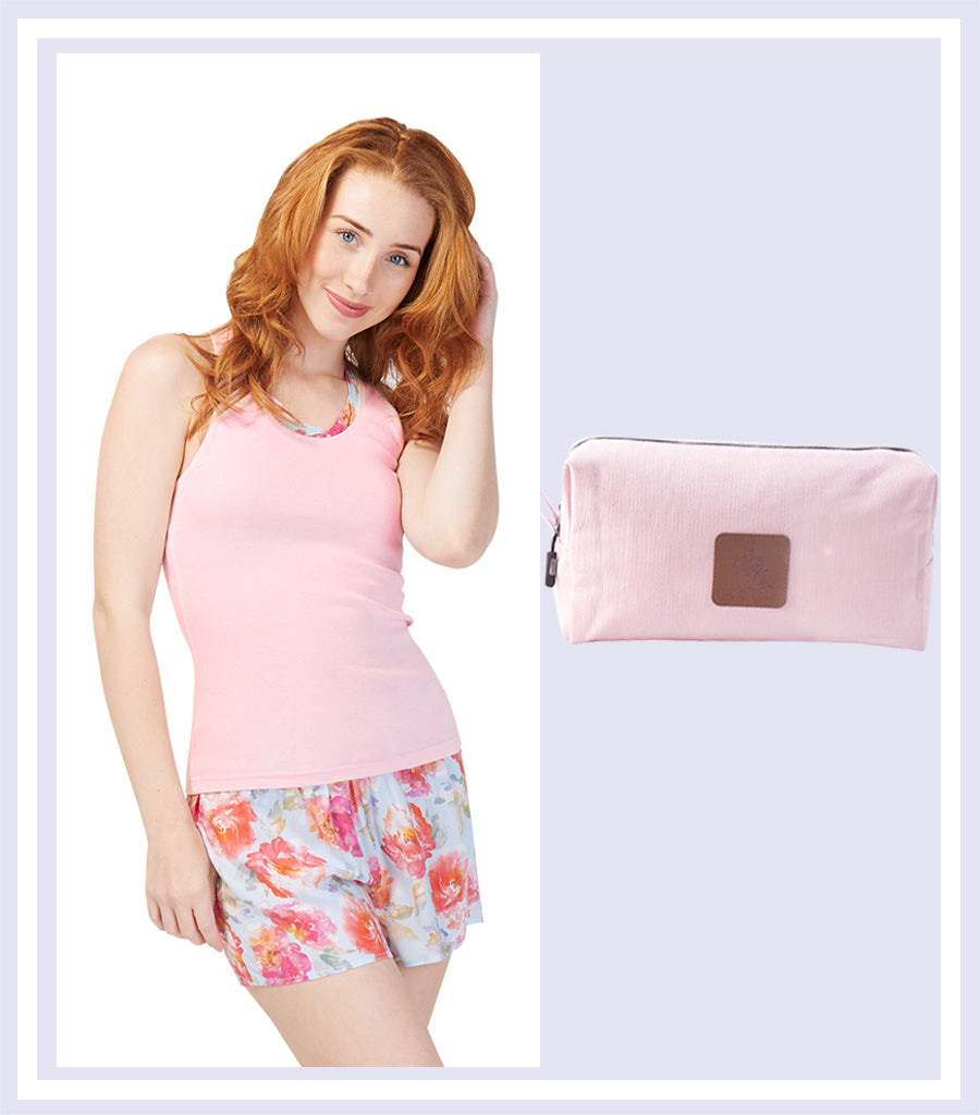 Summer Gift Set - English Rose Tank with Short Set & Pink Large Cosmetic Bag