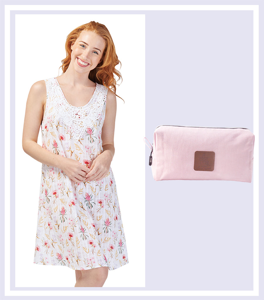 Summer Gift Set - Australiana Cotton Nightie & Pink Large Cosmetic Bag