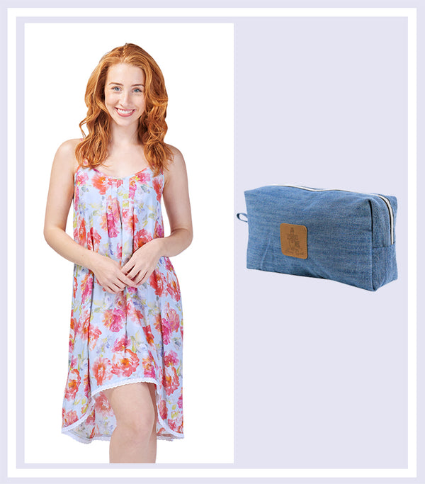 Summer Gift Set - Ladies English Rose Chemise & Denim Large Cosmetic Bag