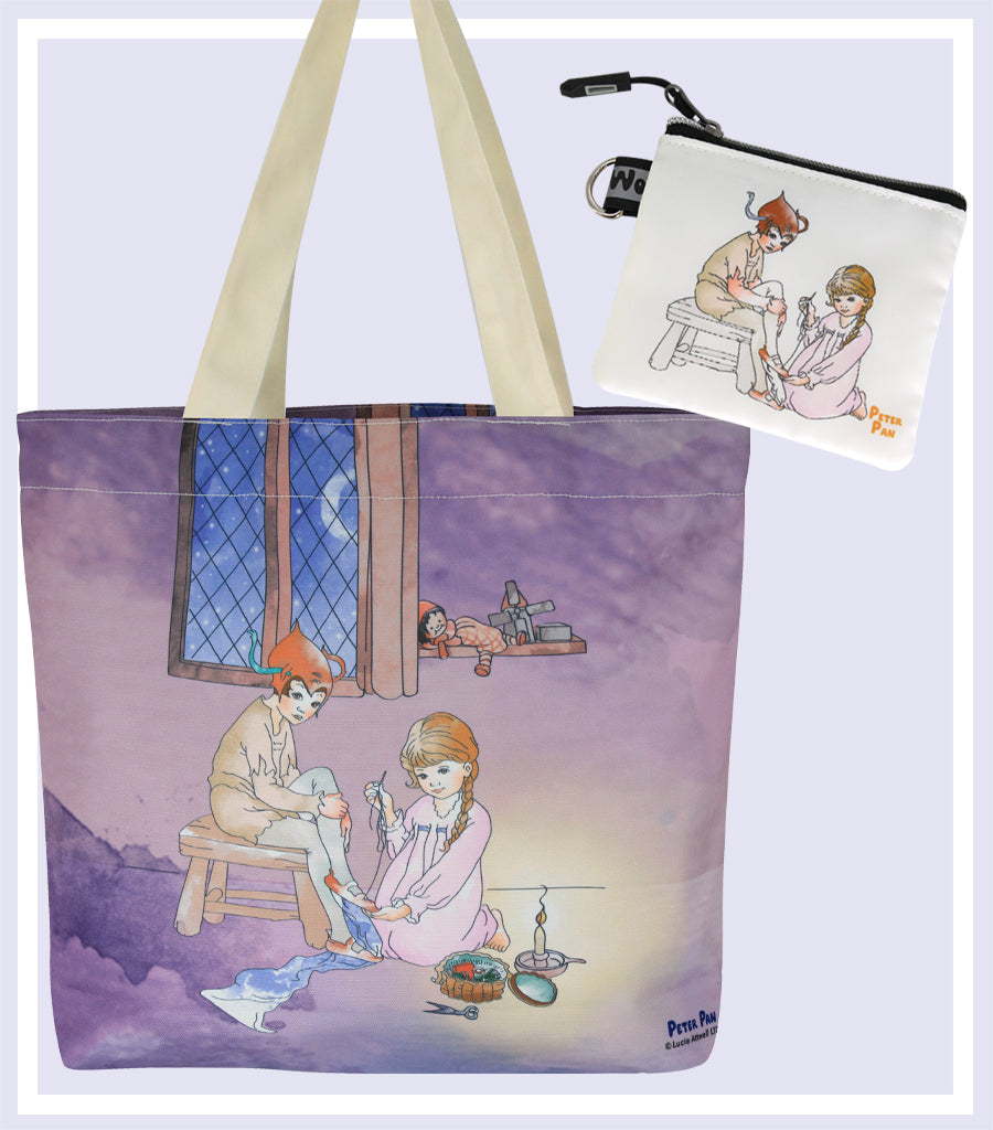 Peter Pan with Wendy Canvas Daily Tote Shopping Bag & Coin and Jewellery Purse